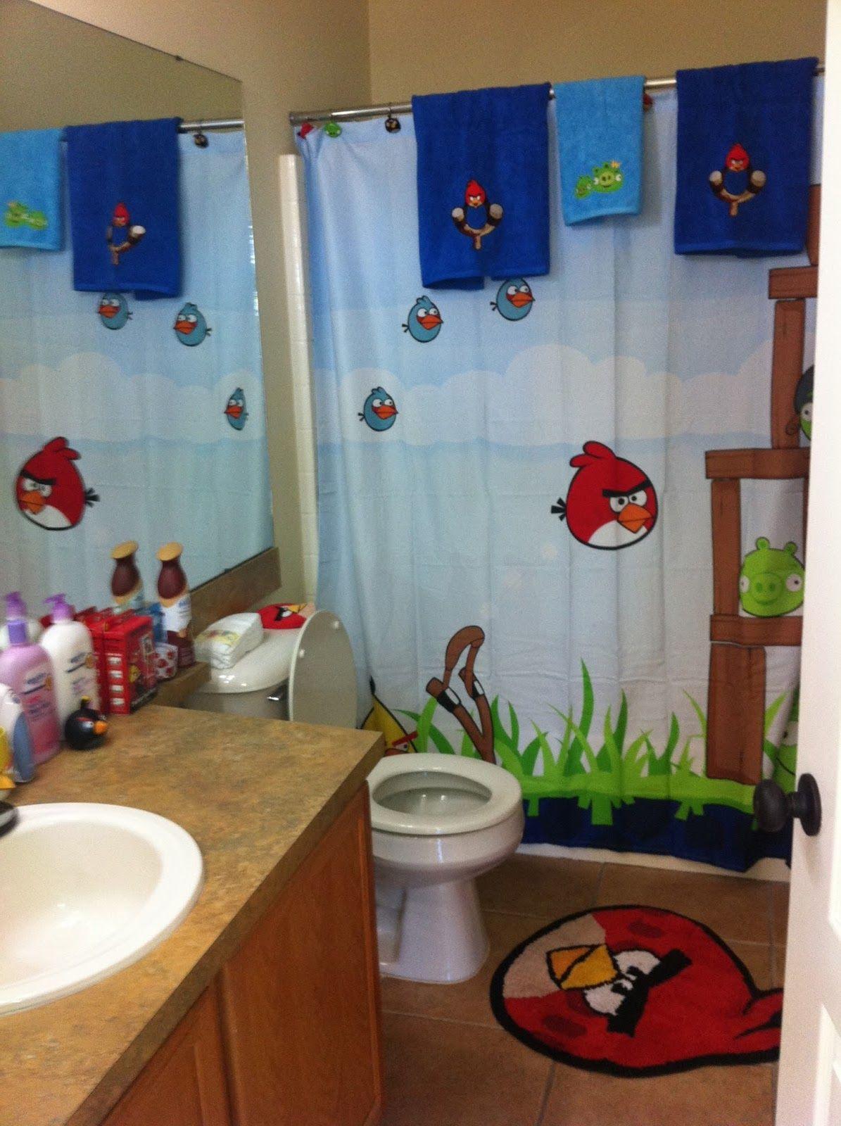 Bird decor bathroom - The Boys Bathroom Angry Birds Bathroom Decor New House Ideas Pinterest Bathrooms Decor Masons And The O Jays