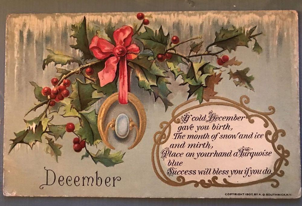 1907 ANTIQUE POSTCARD EPHEMERA paper collectible post card souvenir divided back Oklahoma city Christmas holiday happiest merry mistletoe