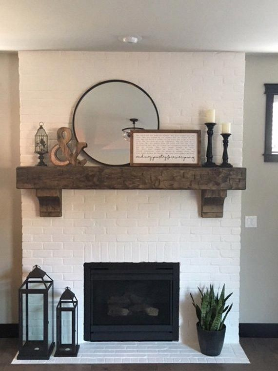"Photo of Fireplace Mantel 62″  Custom  Chunky  Long Rustic 8 by 8 "" Hand Hewn Solid  Pine Antique Look"