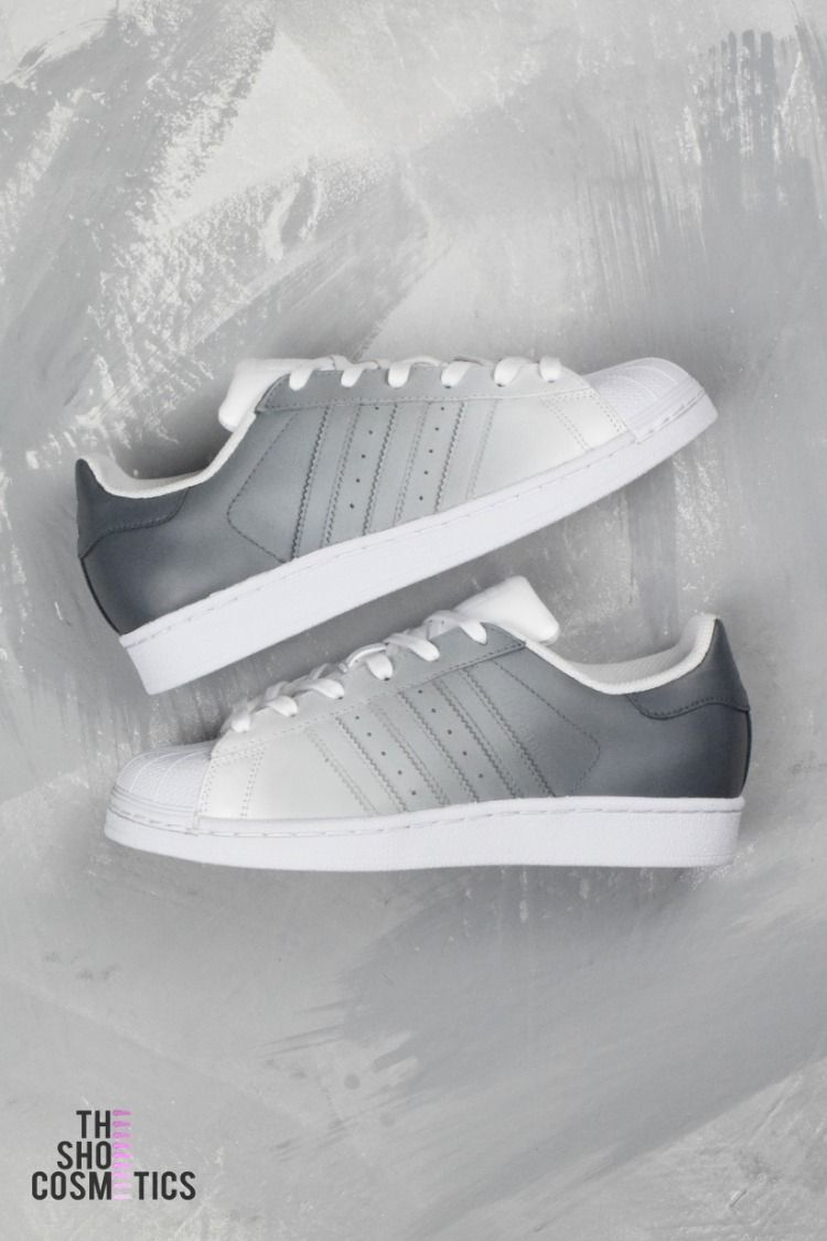 big sale 12e07 36943 Explore our highly popular grey ombre Adidas superstar painted custom  sneakers. Looking for womens Adidas