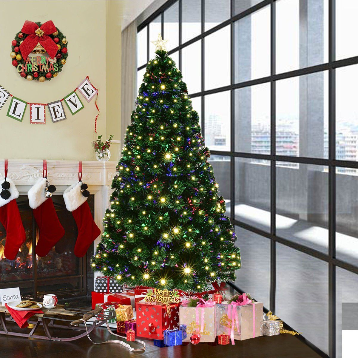 goplus 5ft artificial christmas tree pre lit optical fiber tree 8 flash modes w