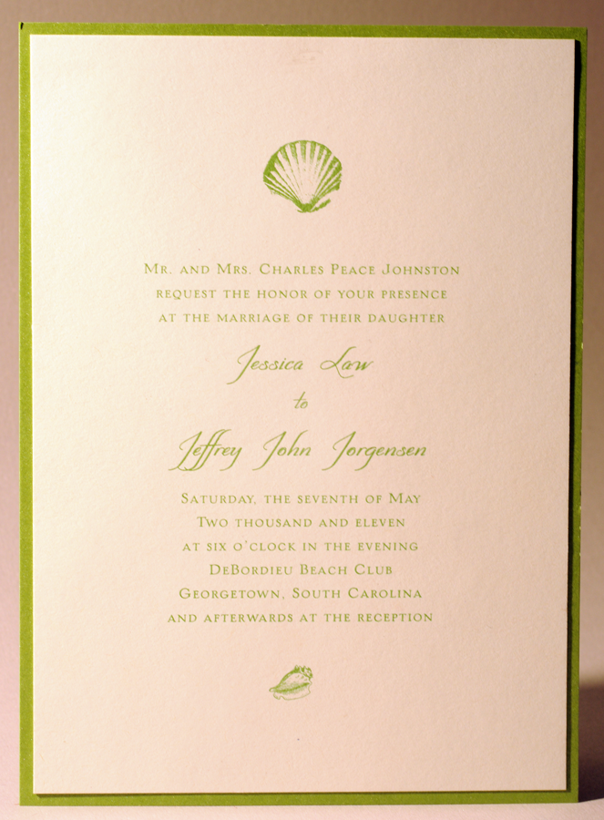 Raised Ink Wedding Invitation Single Color Green Thermography Mounted On Stardream Paper