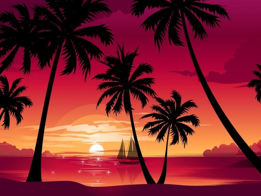 Pink Palm Beach Ocean Ship HD Desktop Wallpaper