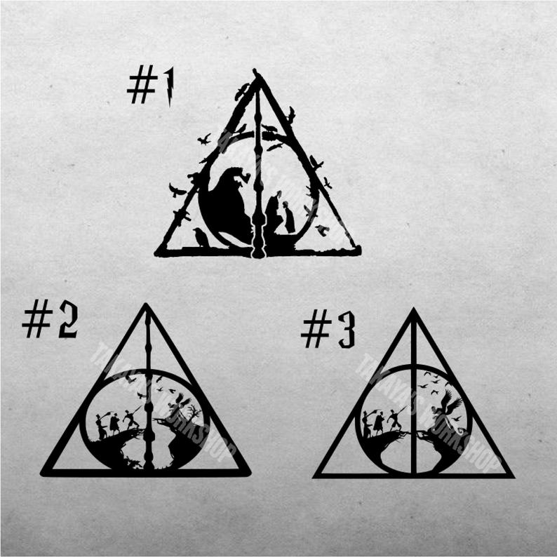 Deathly Hallows Decal Collection Inspired By Harry Potter Etsy Harry Potter Etsy Pixel Art Pattern Potter