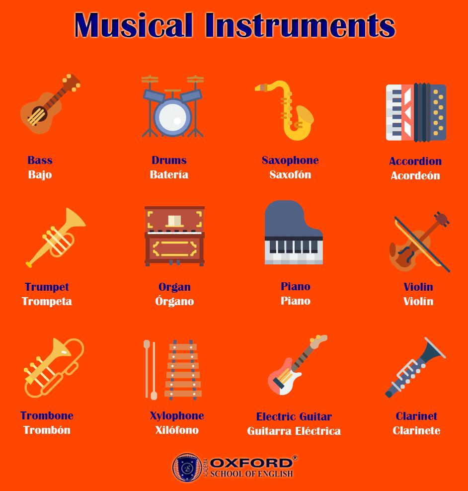 Instrumentos Musicales En Inglés Y Español Minilesson Clarinete Acordeon Musicales