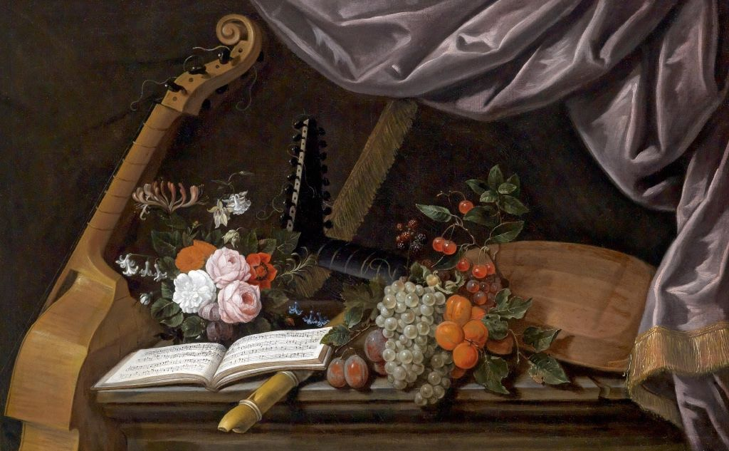 Francois Habert - Still life with flowers, fruit, and musical instruments [ca. 1650]