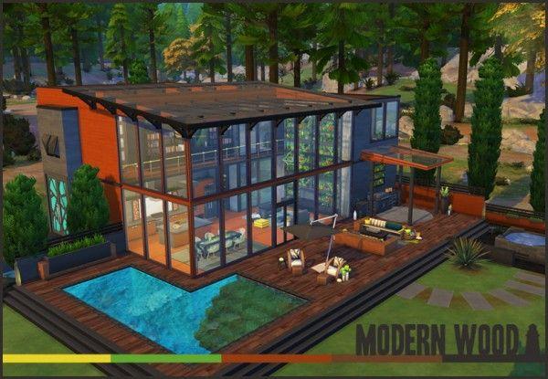 Akisima Sims Blog Modern Wood house • Sims 4 Downloads