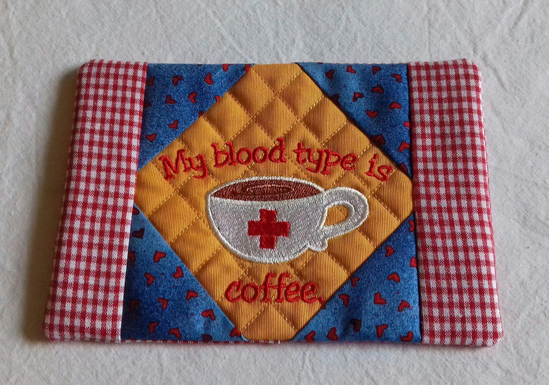 Quilted mug rug - Blood type di KookyOwlCreations su Etsy
