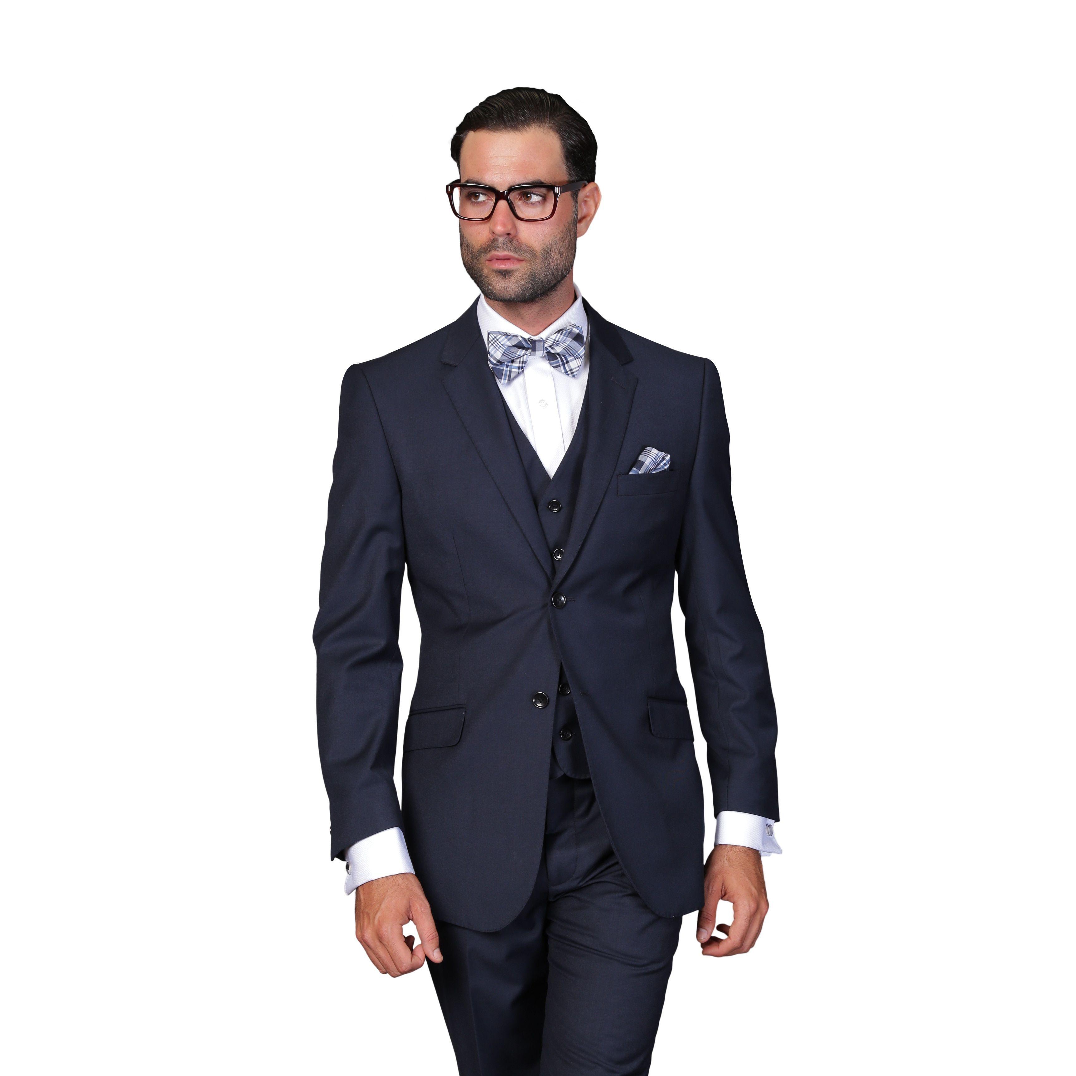 fe8b62bd61c0 Statement Men's Navy (Blue) Wool 3-piece Suit (42R)   Products ...
