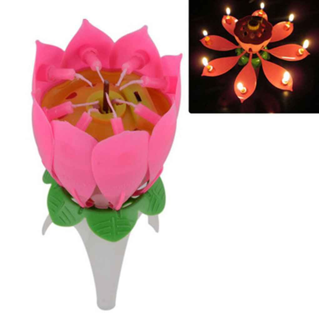 Birthday Candle Lotus Flower Blossom Musical Party Cake Topper Double Deck Magic