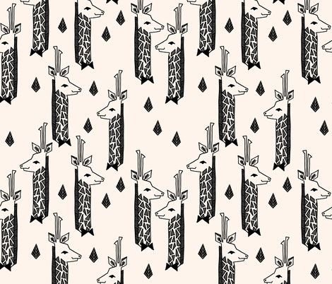 Giraffes - Champagne/Black/Charcoal by Andrea Lauren fabric by andrea_lauren on Spoonflower - custom fabric