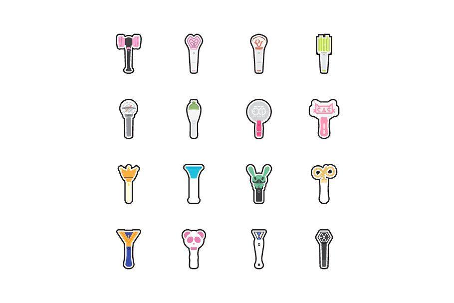 Kpop Lightstick Stickers Icon Set Icon Set Kpop Icon