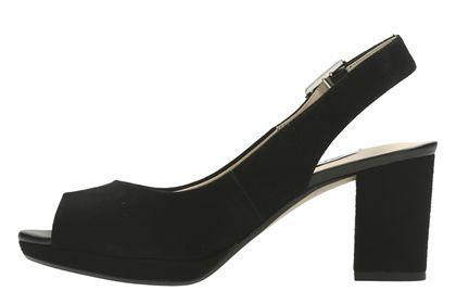 Clarks Kelda Spring Black Suede Womens Smart Sandals