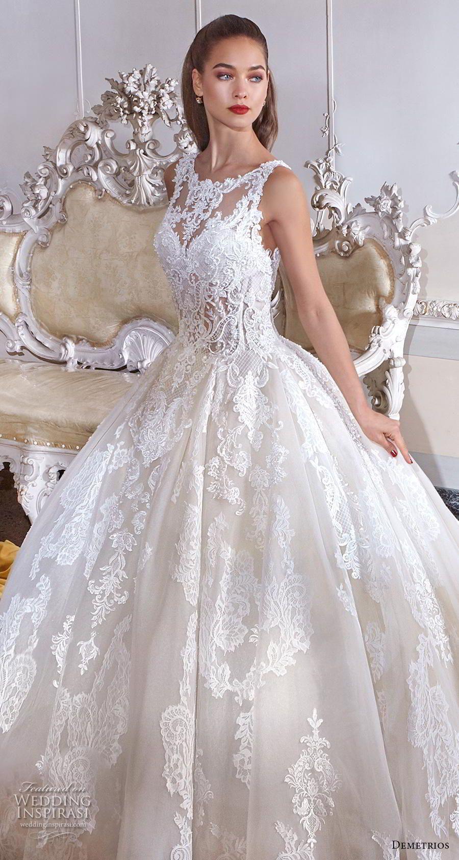 cfeeef46e6 demetrios 2019 bridal sleeveless illusion bateau sweetheart neckline full  embellishment princess ball gown a line wedding dress lace back chapel  train (7) ...