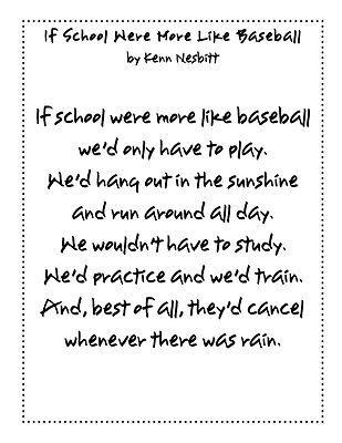 If School Were More Like Baseball Poem  Baseball