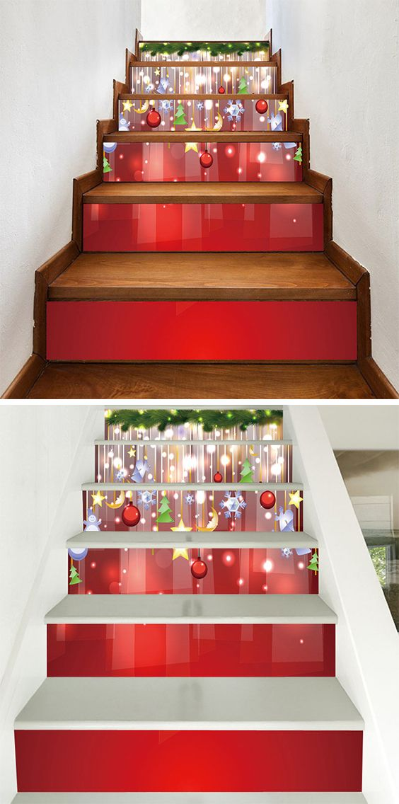 50 off christmas stair stickers - Christmas Decorations Stairs Pinterest