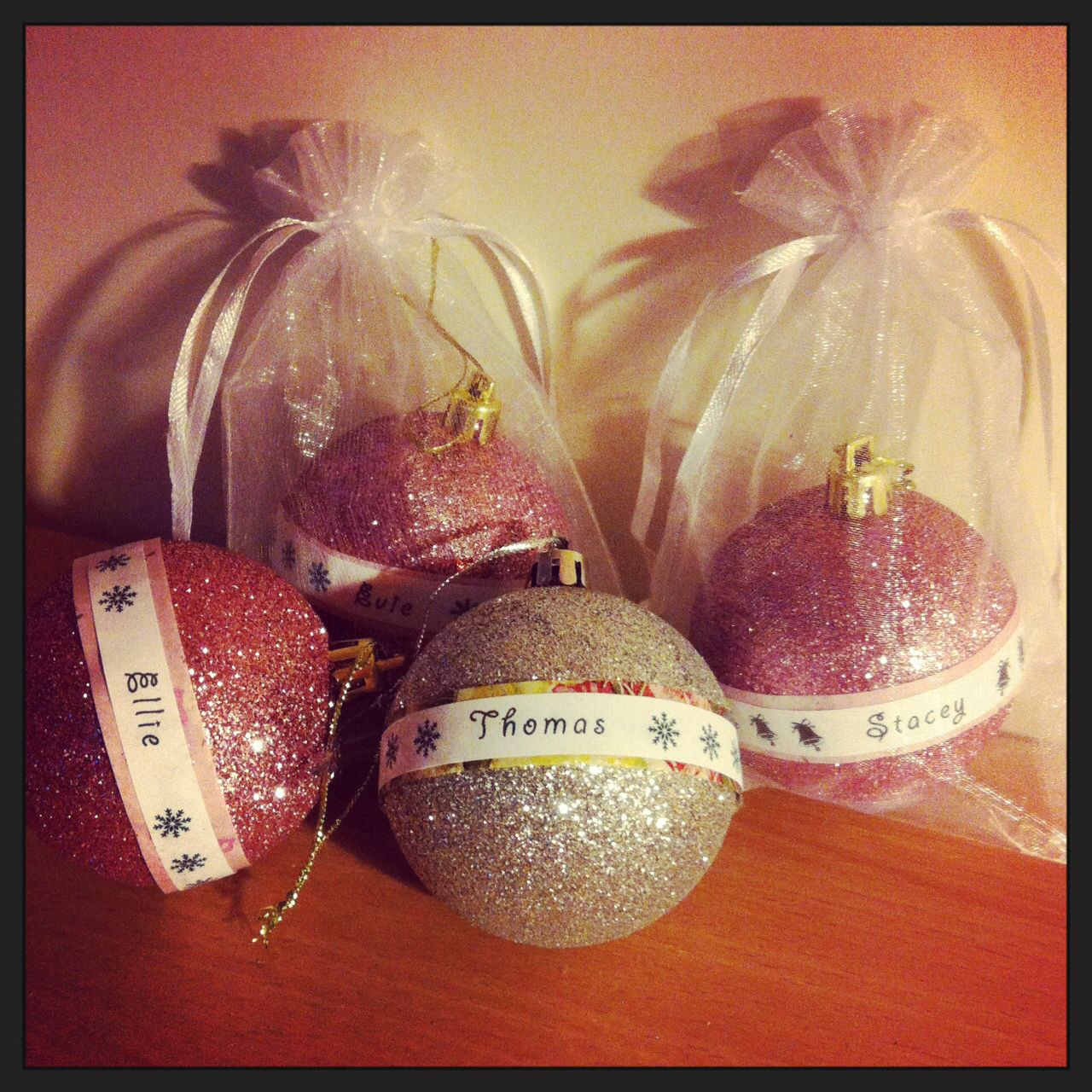 Personalised Christmas ornaments. Perfect as little gifts for little friends.