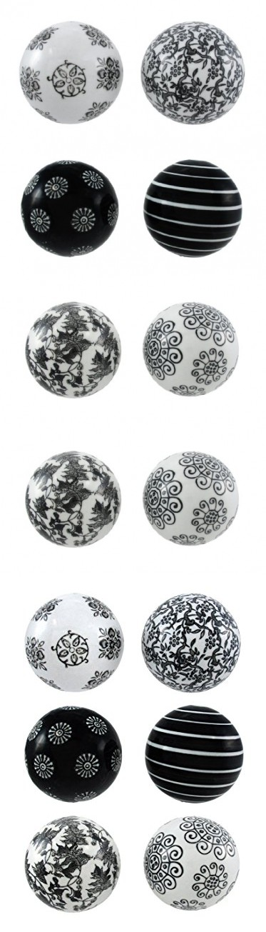 Black Decorative Balls For Bowls Set Of 6 Black And White Decorative Balls 3 Indiameter