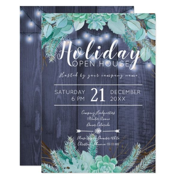 Pine green foliage and branches holiday open house invitation