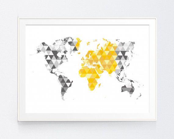 Yellow Gray World Map Print Mustard And Grey World Map Wall Art Gold And Shadows Of Grey Triangle Wall A World Map Wall Art Yellow Gray Bedroom Grey Wall Art