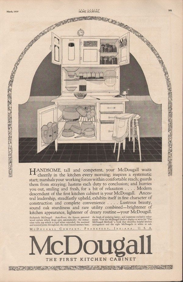 1920 Mcdougall Kitchen Cabinet Cupboard Furniture Apron Ad 9082 Cabinet Cupboard Kitchen Cabinets Hoosier Cabinets