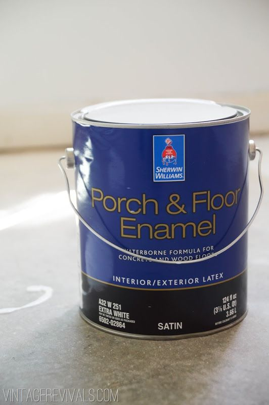Best Paint For Concrete Floors With Detailed Instructions From Vintagerevivals Com Painting Concrete Painted Concrete Floors Concrete Floors
