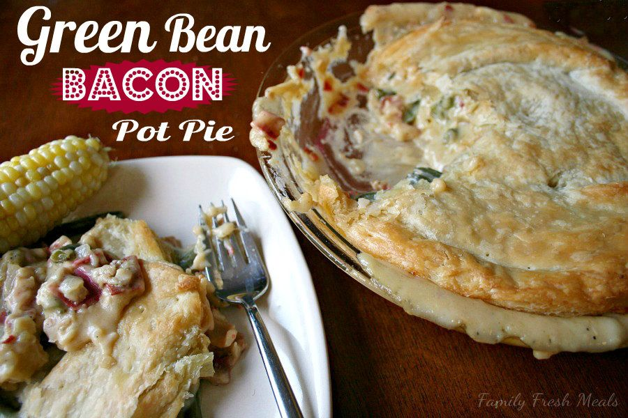 Cheesy Green Bean & Bacon Pot Pie (with vegetarian option)  What a great twist on an old favorite! Perfect holiday food.