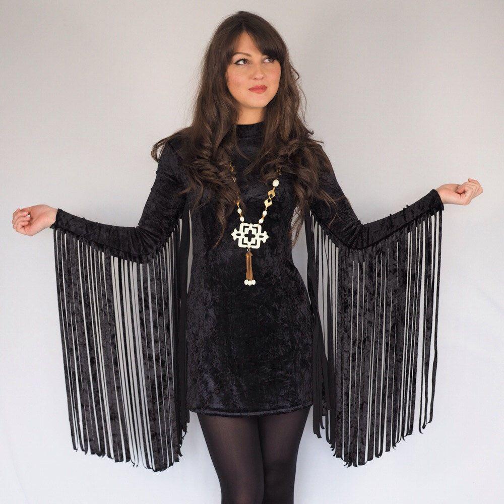 Black Crushed Velvet Fringe Sleeved Dress Velvet Fashion Dresses Dresses With Sleeves [ 1000 x 1000 Pixel ]