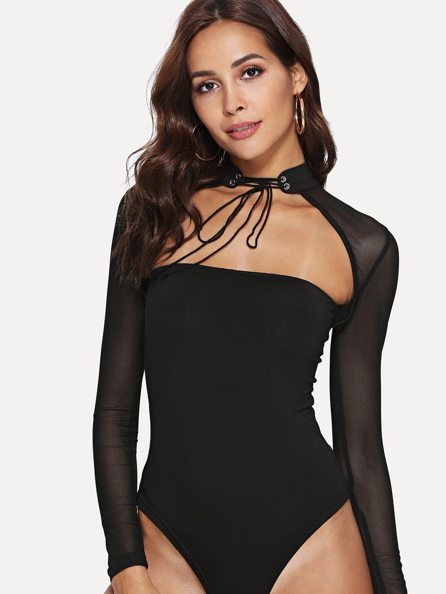 0b3bf0bc50 SHEER MESH CUT OUT BODYSUIT. SHEER MESH CUT OUT BODYSUIT Sequin ...