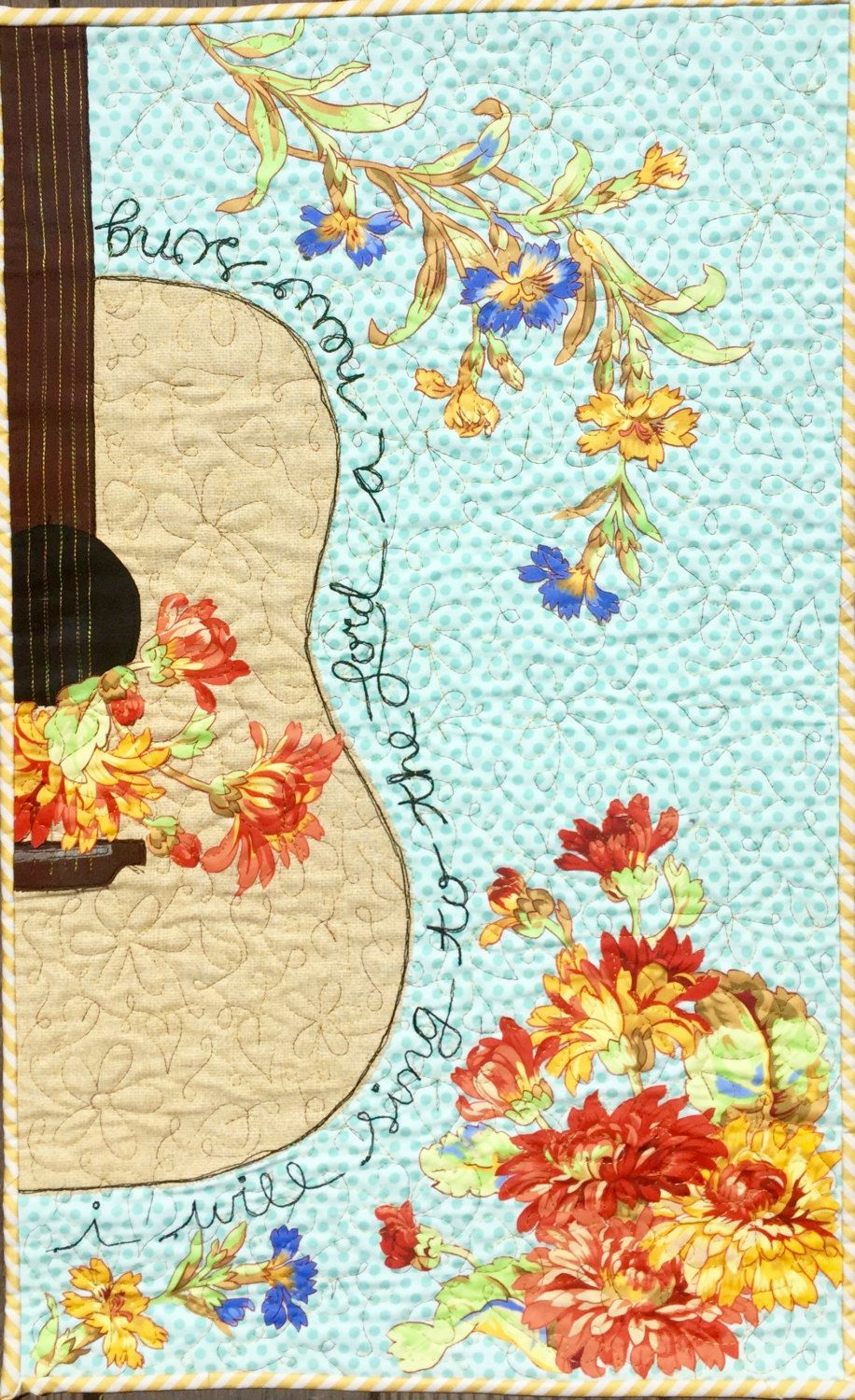 Christian art/music art quilt/guitar art quilt/scripture art quilt ...