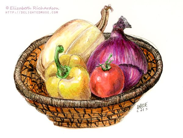 Drawing Vegetables In A Basket Still Life Ink Watercolor