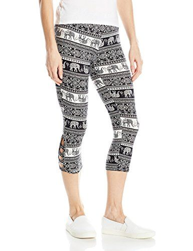 cfe6092c5f2eb9 Eye Candy Junior's Cutout Capri Legging, Black Combo a, M | WOMEN ...