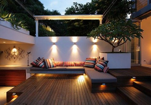 Modern courtyard design with terrace house equipped wooden deck romantic lighting ideas lovely beautiful courtyard as the refreshing spot for your home