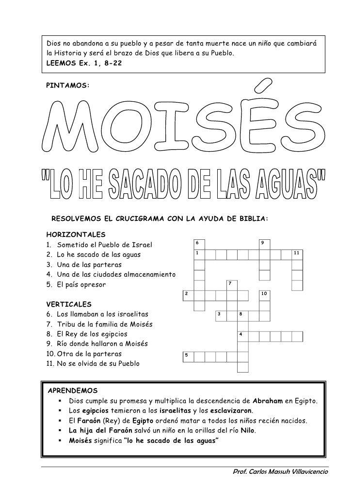 Resultado de imagen de crucigrama de moises para niños | Páginas ...