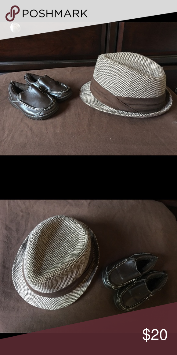70a19b5045b77 Boys Toddler Size 7 Brown Dress Shoes   Fedora Hat Boys   Baby   Toddler  Brown