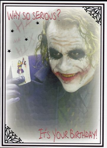 Unusual Handmade Joker Gothic Birthday Card Batman Heath Ledger Dark