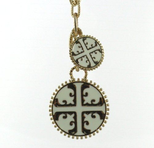 Designer Inspired T-Emblem Textured Double Pendant Necklace (White)  Price : $9.00 http://www.jewelsense.net/Designer-Inspired-T-Emblem-Textured-Necklace/dp/B00DXPSF9C