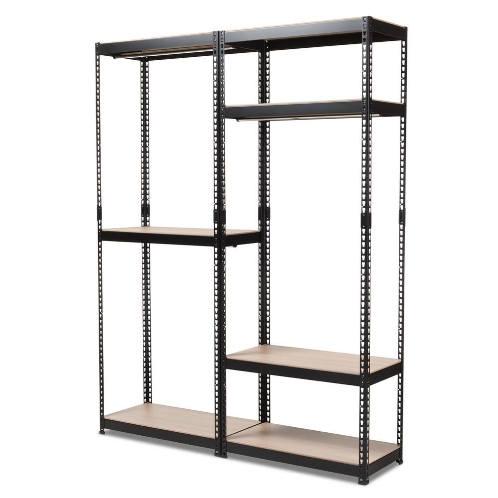 Baxton Studio Gavin Black Metal 7 Shelf Closet Storage Racking Organizer 7596 7598 Hd Closet Rack Closet Shelves Shelves