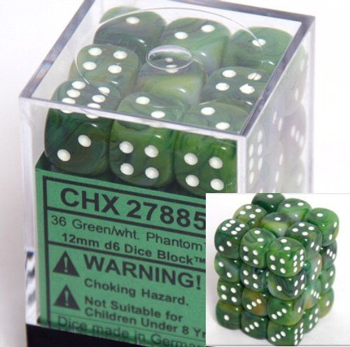 Chessex Dice D6 Sets Phantom Green With White 12mm Six Sided Die 36 Block Of Dice 10 81 Save 3 17 Game Dice Games Phantom