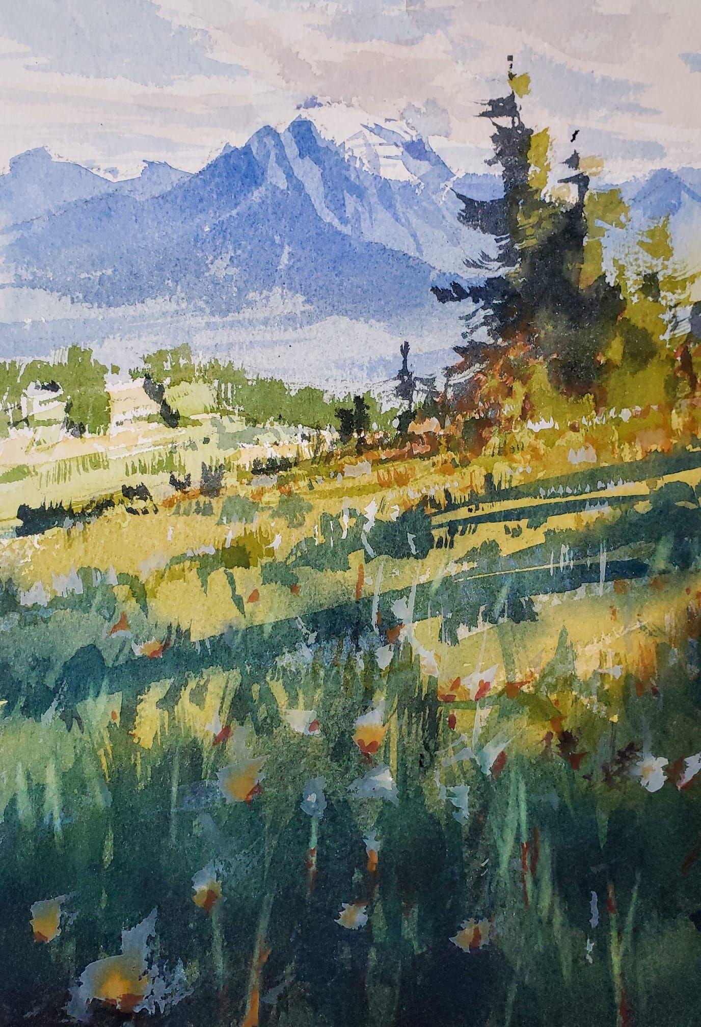 Yong Hong Zhong More Plein Air Painting From Banff National Park In Alberta Canada Arte De Acuarela Paisajes Acuarela Acuarela