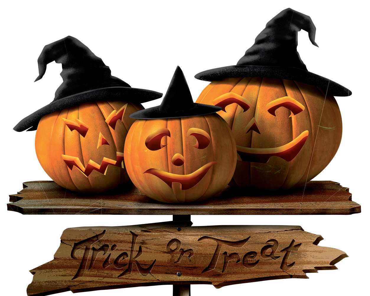 Trick or Treat Sign with Pumpkins PNG Picture (With images