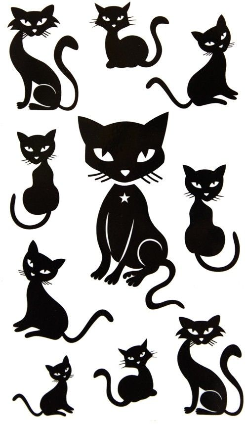 black cat tattoo ideas - Black Cat Silhouette Halloween