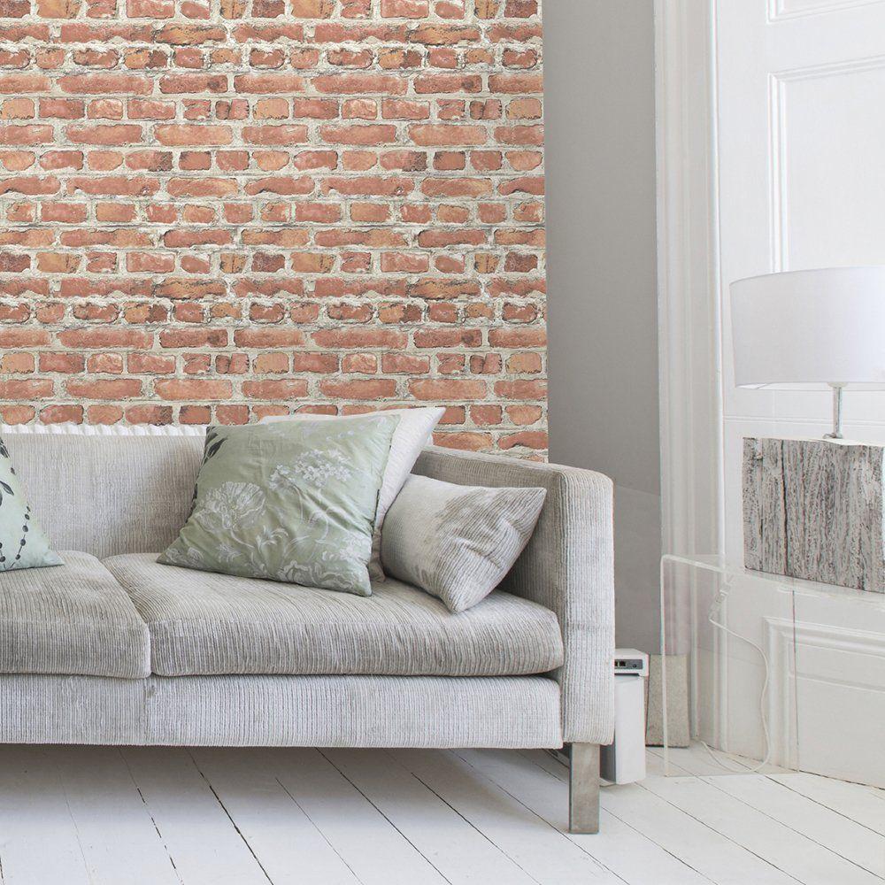 Best Warehouse Photographic Brick Effect Wallpaper Red Brick 400 x 300