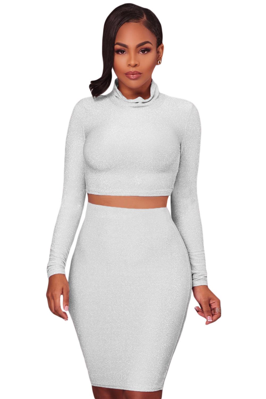 lovever Womens High Waist Slim Fit Silver Sequin Glitter Bodycon Midi Skirt