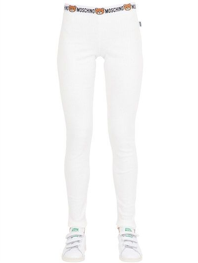 034718cc348f55 MOSCHINO UNDERWEAR TEDDY BEAR LOGO RIBBED COTTON LEGGINGS, WHITE.  #moschinounderwear #cloth #leggings