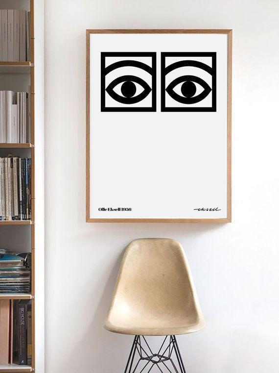 Olle Eksell Cocoa Eyes Scandinavian Art Print Modern Wall Art Scandinavian Poster Scandinavian Design Scandinavian Artist Wall Print Hem Inredning