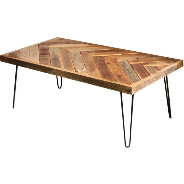 herringbone coffee table with hairpin legs repurposed wood barn