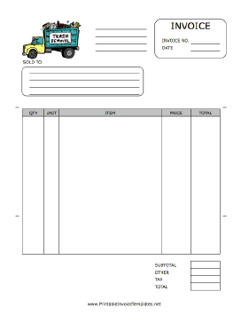 A Printable Invoice For Use By A Trash Removal Company Or An