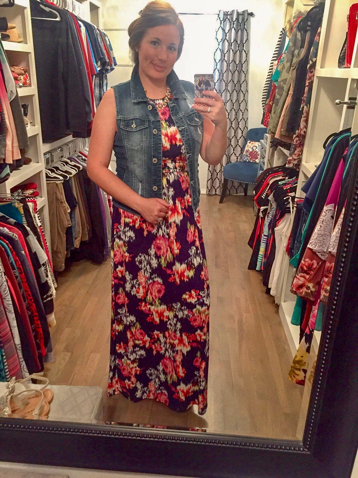 c90bf3332f1 Loveappella - Tiah Knit Maxi Dress - Stitch Fix Summer 2018 - Floral Maxi  Dress