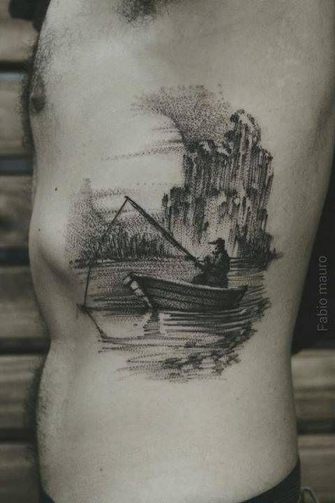 Sketch Work Fisherman Fishing In A Boat Tattoo On The Boat Tattoo Tattoos For Guys Fishing Boat Tattoo